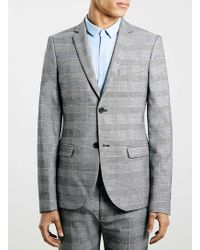 Topman Prince Of Wales Check Ultra Skinny Suit Jacket - Lyst