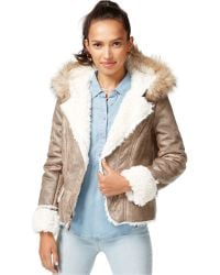 Wildflower - Hooded Faux-shearling Jacket - Lyst