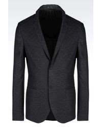Emporio Armani Jacket In Jacquard Wool - Lyst