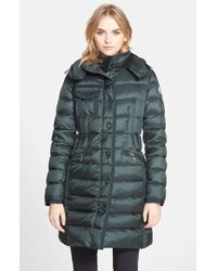 Moncler 'Hermine' Grosgrain Trim Down Coat green - Lyst