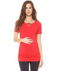 Rosie Pope Short Sleeve Sylvie Maternity Top - Poppy - Red