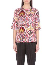 Dries Van Noten Printed Satin Top - For Women - Lyst