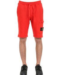 Stone Island Garment Dyed Cotton Jogging Shorts - Orange