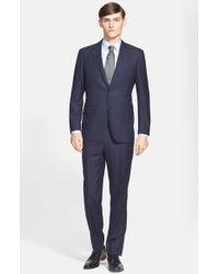 Canali Classic Fit Plaid Wool Suit blue - Lyst