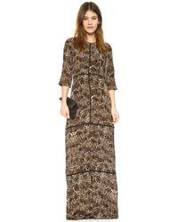 The Kooples Silk Leopard Print Dress - Brown