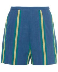 Stella Jean Macaco Striped Cotton Shorts - Lyst