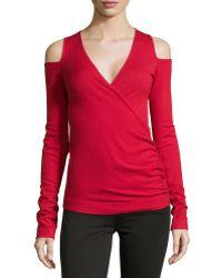 Donna Karan New York Long-Sleeve Cold-Shoulder Top - Lyst