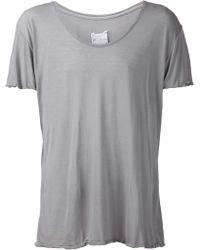 Greg Lauren Scoop Neck T-Shirt gray - Lyst