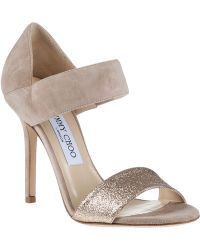 Jimmy Choo Tallow Evening Sandal Nude Suede - Lyst
