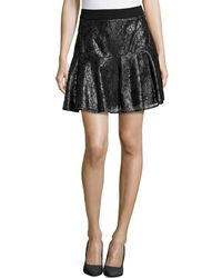 Catherine Catherine Malandrino Lace Pleated A-line Skirt - Lyst