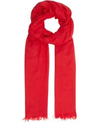 Vince - Red Fringed Woven Scarf - Lyst