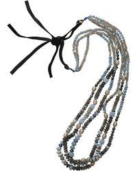 Royal Nomad Jewelry - Three Strand Opal And Silver Bead Necklace - Lyst