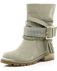 River Island Beige Suede Chain Embellished Biker Boots - Lyst