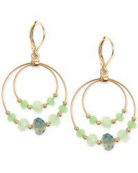 Jones New York - Gold-tone Mint Green Bead Double Orbital Drop Earrings - Lyst