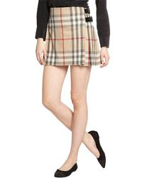 Burberry Brit Khaki New Classic Check Mini Skirt - Lyst