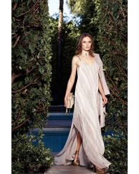 Halston | Printed Pleated Chiffon Gown | Lyst