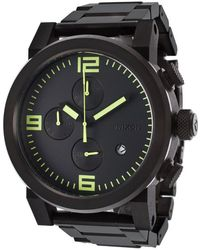 Nixon Men'S Ride Chrono Black Ip Stainless Steel And Dial Green Accent - Lyst