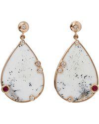 Boaz Kashi Speckled Dalmatian Agate Earrings - Metallic