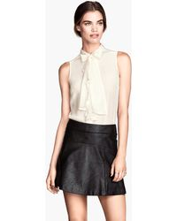 H&M Flared Leather Skirt - Lyst