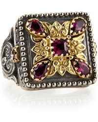 Konstantino Silver  18k Gold Rhodolite Square Ring - Lyst