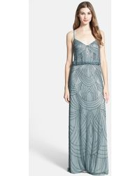 Adrianna Papell Beaded Chiffon Blouson Dress - Lyst