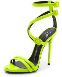 Giuseppe Zanotti Neon Crisscross Sandals - Yellow - Lyst