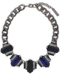 Vince Camuto Hematite Tone and Baguette Stone Frontal Necklace - Lyst