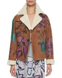 Burberry Prorsum Handpainted Shearling Suede Jacket - Lyst
