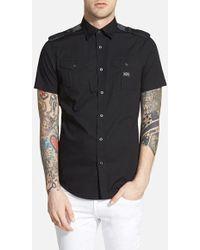 Diesel 'Koir' Extra Trim Fit Short Sleeve Military Shirt black - Lyst