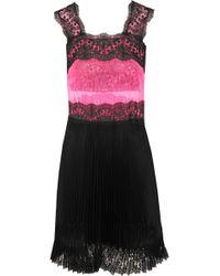 Christopher Kane Lace-Paneled Tulle And Plissé-Satin Mini Dress - Lyst