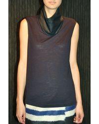 Yigal Azrouel Leather Sleeveless Turtleneck Black - Lyst