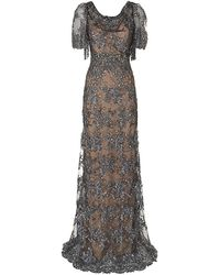 Marchesa Beaded Evening Gown - Lyst
