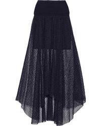 Chloé Lace and Wool Blend Skirt - Lyst