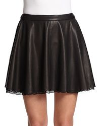Alice + Olivia Lace-Trimmed Leather Skirt - Lyst
