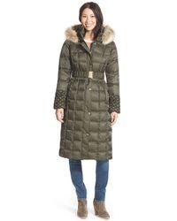 Betsey Johnson - Faux Fur Trim Hooded Long Puffer Coat - Lyst