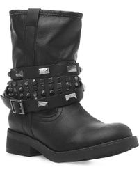 Steve Madden Mightee Calf Biker Boot with Studded Straps Black - Lyst