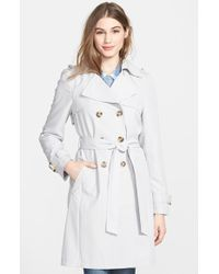 DKNY 'Darcy' Drape Double Breasted Trench Coat - Lyst
