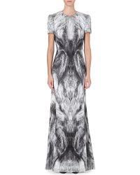 Alexander McQueen Mcq Foxprint Satin Gown Grey - Lyst