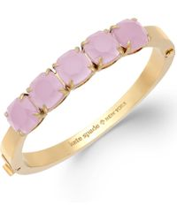 Kate Spade New York Gold-tone Pink Glass Stone Hinge Bangle Bracelet - Lyst
