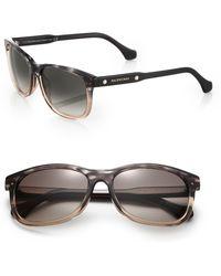 Balenciaga 57Mm Marbleized Rectangle Sunglasses - Lyst
