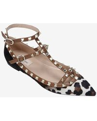Valentino Printed Haircalf Cage Ballet Flat - Lyst