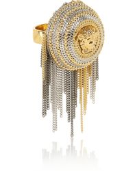 Versace Chain-Trimmed Gold And Silver-Tone Ring - Lyst