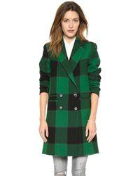 Sea Plaid Overcoat Green - Lyst