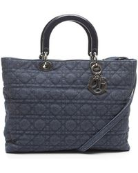 Dior Preowned Blue Denim Large Lady Dior Bag - Lyst