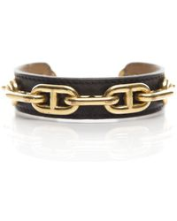Hermes Pre-Owned Leather Chaine D' Ancre Cuff - Lyst