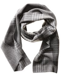 Banana Republic Mens Plaid Extra Fine Merino Wool Scarf Size One Size - Dark Charcoal Heather - Lyst