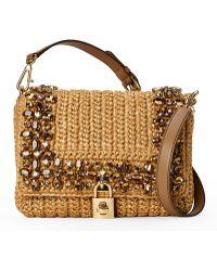 Dolce & Gabbana Embellished Raffia Shoulder Bag - Lyst
