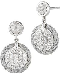 Charriol - White Sapphire Pave Drop Earrings - Lyst