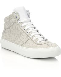 Jimmy Choo Belgravia Croco-Embossed Leather High-Top Sneakers - Lyst