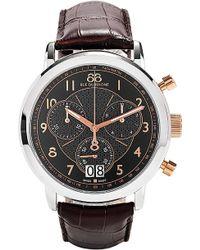 88 Rue Du Rhone Mens Black Dial Chronograph Leather Strap Watch - Metallic